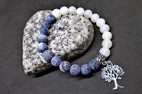 náramek ledový matný achát, jin-jang, strom života